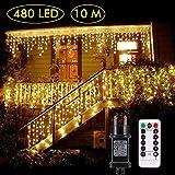Cascata luci! Tende 480 LED con Telecomando, Tenda LED con 8 modalità, luci Matrimonio per Feste, casa, Cortile, Finestra, Patio, facciata, Natale, San Valentino, Matrimonio ECC. (Bianco Caldo)