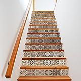 Fulanky 13 Pcs/Set Retro Schwarzen und Weißen Fliesen Muster Treppe Aufkleber Wasserdicht Abnehmbare
