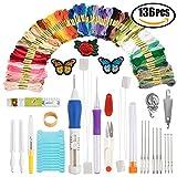 Stickerei Pen Punch Nadel, Stickerei Patches/-Muster Zahnseide und Schere Geschenk Set, Sticknadeln Starter Kit Craft Tools inkl. 100Farben Garnknäuel Stickgarn für Nähen Stricken DIY Einfädler