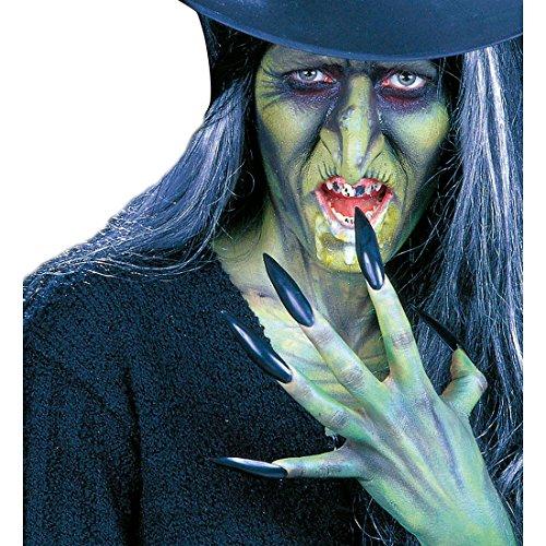 Amakando Schwarze Hexennägel Hexen Nägel 10er Set, mit Klebepads Lange Vampir Kunstnägel XXL Fingernägel Gothic Krallen Märchen Kostüm (Märchen Kostüme Accessoires)