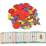 155pcs Rompecabezas de madera, Conjunto de rompecabezas de aprendizaje educativo temprano de inteligencia de colores para 2-1
