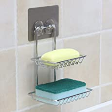 ORPIO (LABLE) Wall Mount Self-Adhesive Stainless Steel Waterproof Kitchen Bathroom Double-Layer Soap Dish Holder