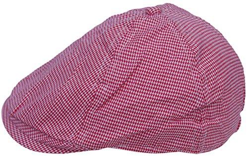 Cool4 Kleinkind 6-Panel Hahnentritt Flatcap Rot-Weiß Schiebermütze Gatsby Newsboy Cap KC18 (Hahnentritt-newsboy Hut)