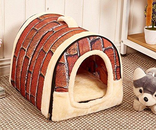 2in 1Pet House und Sofa, maschinenwaschbar Weiß Star Muster Rutschfest Faltbar Weich Warm Hunde/Katzen/Kaninchen Pet Nest Höhle Bett Haus mit herausnehmbarem Kissen, abnehmbarer Kaschmir Matratze