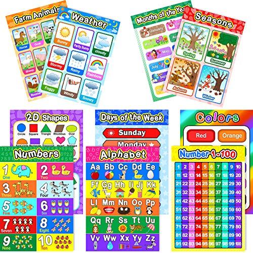 Pädagogisch Vorschule Poster für Kleinkinder und Kinder mit 80 Klebe Punkten, Ideal für Kindergarten Klassenzimmer - Lehren Nummer Alphabet Farben Tage und Mehr, 16 x 11 Zoll (10 Stücke) - Tag-alphabet