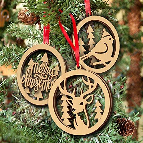 Veewon Vintage colgante de madera rústico de Navidad Hanging adorno d