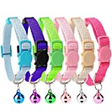 HOMIMP 6PCS Breakaway Cat Collar Safety with Bell for Kitty 20-30cm