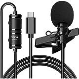 YOTTO Micro Cravate Professionnel Type C Microphone avec 6,5m Rallonge Condensateur Omnidirectionnel Lavalier Microphone pour