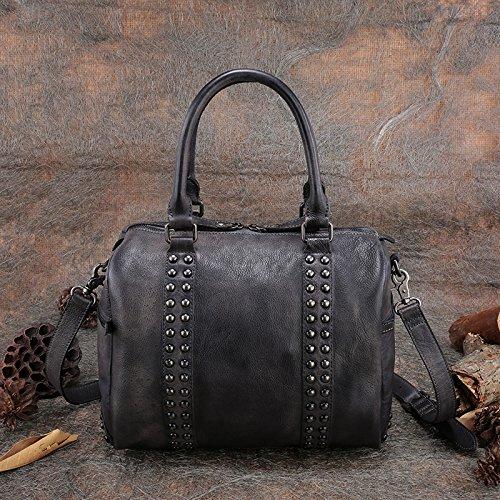 Nouveau style original part-en-tête couche de cuir rivet sac à bandoulière diagonale unique portable Gray