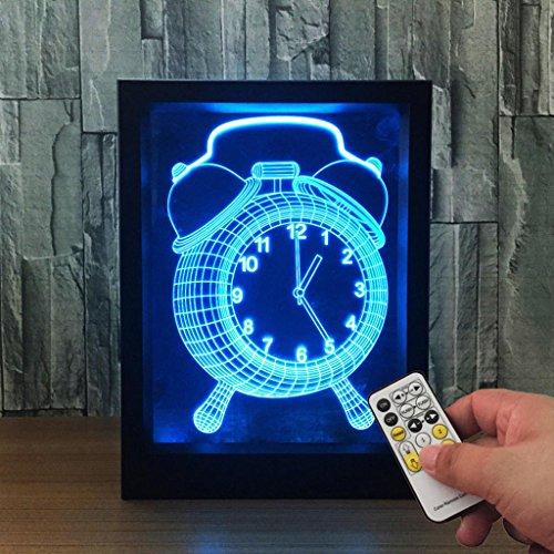 ZQQ Coloré Acrylique Radio-réveil 3D Lumière de nuit Stéréo Cadre photo Chevet Lampe avec télécommande