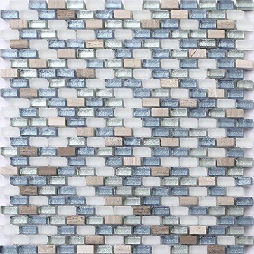 Mosaik Fliesen Matte in Weiß, Blau und Silber aus Glas und Naturstein. Texturiert Ziegelstein Effekt (MT0125)