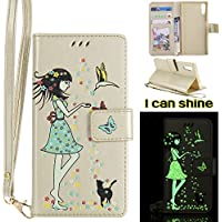Sony Xperia XZ Flip Cover, Sony Xperia XZ Leather Case, BONROY® Luminous Girl and Cat Embossed Pattern Premium PU Leather Wallet Book Style Protective Case with Card/Cash Slots Wrist Strap For Sony Xperia XZ - Gold