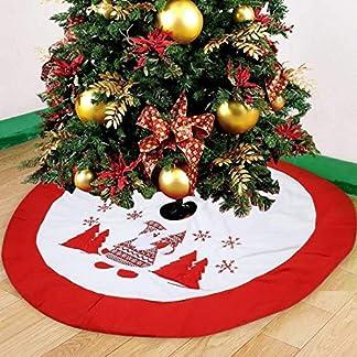 Falda arbol navidad,Falda Decoración Papá Noel copo de nieve Árbol de Navidad Borde Rojo 90cm De Diámetro