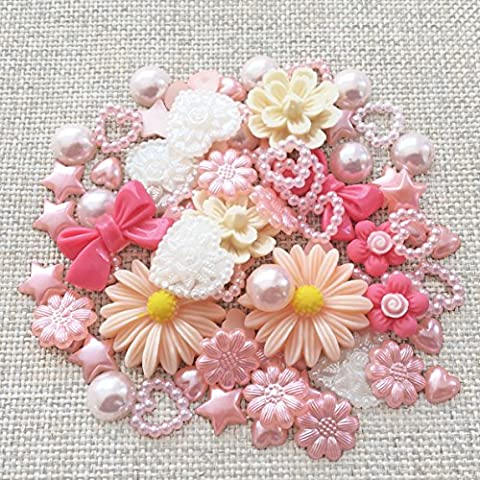 80 Mix Peach Shabby Chic Resin Flatbacks Craft Cardmaking Embellishments