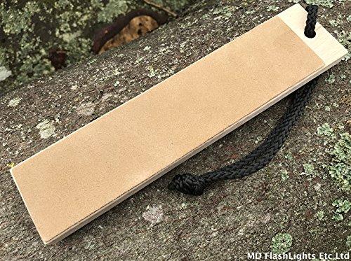 MD FlashLights Etc Ltd bois double face Cuir à Rasoir couteau polissage Burr retrait Paddle Bushcraft