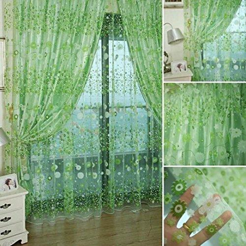 Türkei 1Floral Print Vorhang Voile Tür Fenster Vorhänge mit Trennwand Schal-Aufhängen 78,7cm x 39,4cm grün