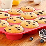 #5: JoyGlobal 12 Cups Muffin Tray Pan Red Silicone Mold Nonstick Cup Mould