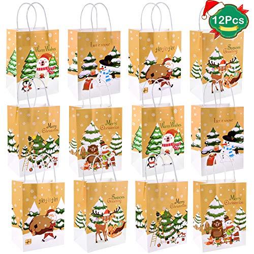 FEPITO 12Pcs Bolsas regalo Navidad Bolsas regalo papel