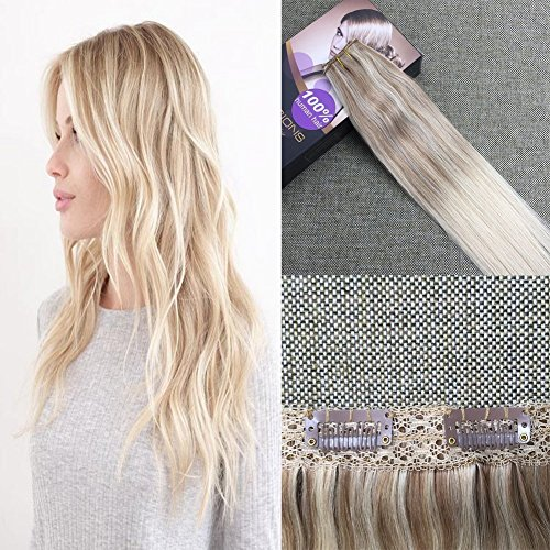 Moresoo 18Zoll/45cm Balayage Aschblond #18 to #22 Goldene Blondine Mit Blond #60 One Piece Clip In Glatt Haarteil Haarverlängerung Remy Human Hair 50g