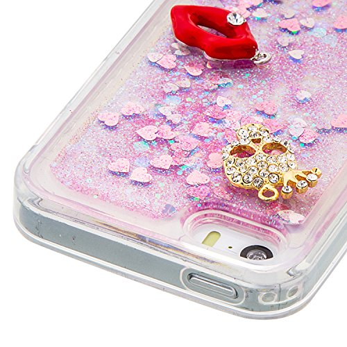 MOONCASE iPhone SE Coque, Glitter Sparkle Bling [Owl] Faux Diamant Dessin Motif Liquide Étui Coque pour iPhone 5 / 5S / SE Soft TPU Gel Souple Case Housse de Protection Or 04 Rose 02