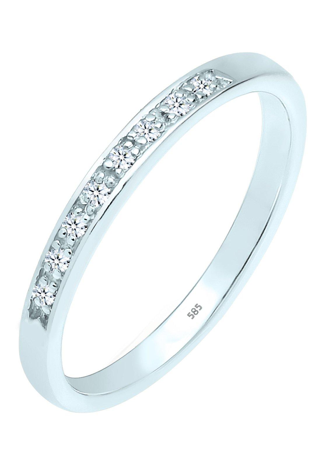 Diamore Fedina da donna in oro bianco 585 con diamanti (0.08 ct) bianchi, taglio brillante, oro bia