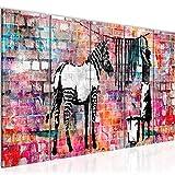 Bilder Banksy Washing Zebra Wandbild 150 x 60 cm Vlies - Leinwand Bild XXL Format Wandbilder Wohnzimmer Wohnung Deko Kunstdrucke Bunt 5 Teilig - MADE IN GERMANY - Fertig zum Aufhängen 012956c