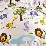 Kinderbettwäsche 100x135 Jungen Mädchen Kinder 100% Baumwolle Reißverschluss Zoo-tiere Elefant Giraffe Affe bunt Babybettwäsche Bettwäsche Set