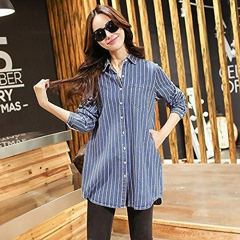 WZH Visualizza casual donna sottile camiciole di camicia jeans manica lunga a righe , blue stripes , m