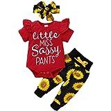 FYMNSI Mameluco de manga corta con volantes para recién nacidos, pantalones cortos florales con diadema de lazo, 3 piezas, ro