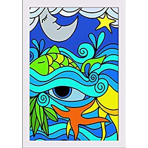 AZ Abstract Background With The Sea At Night Paper Poster White Frame with Glass 13.5 x 19.5inch