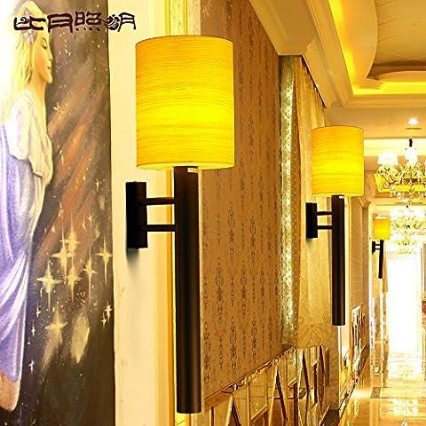 BBSLT Camera da letto minimalista moderno cinese salotto comodino Asia sud-orientale personalità creativa impiallacciatura lampada da parete 200 * 750mm