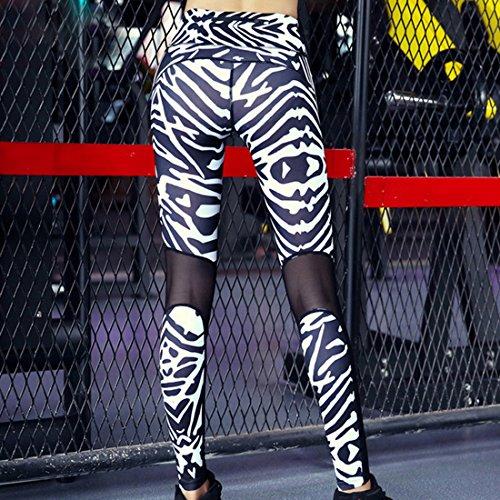 Vertvie Femme Leggings de Sport Imprimé Zèbre Pantalon Collant Stretch Extensible Patchwork Mesh pour Yoga Fitness Jogging Noir et Blanc
