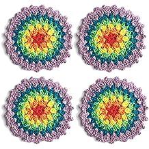 """Ambielly Piccolo Crochet rotonda pizzo di cotone Tovagliette sottobicchieri centrini per la Coppa / vetro, 4pcs / Pack (10cm / 3.9 """", viola)"""