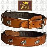 Woza Exclusive HUNDEHALSBAND Englische Bulldogge 3,8/60CM Vollleder Cognac RINDNAPPALEDER BRAUN Handmade Collar