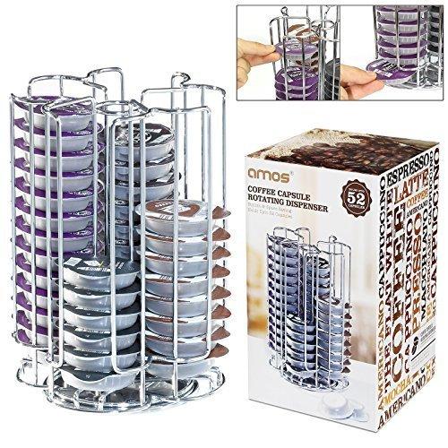 AMOS Soporte de 52 Cápsulas de Café Tassimo T-Disc Dispensador Giratorio Rotativo Porta Organizador Estante en Acero Inoxidable Torre de Almacenamiento