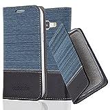 Cadorabo Hülle für Samsung Galaxy J1 2015 (5) - Hülle in DUNKEL BLAU SCHWARZ – Handyhülle mit Standfunktion und Kartenfach im Stoff Design - Case Cover Schutzhülle Etui Tasche Book