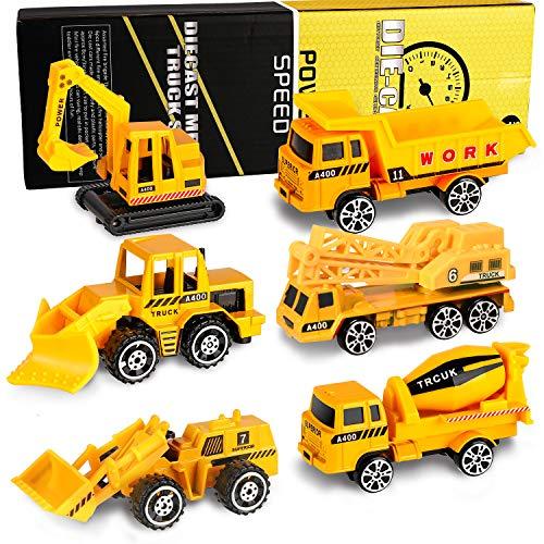 XDDIAS Voiture de Chantier Jouet Alliage Voitures, 6 Pcs Miniature Véhicule Jouets Modèles, Mini Construction Jouet Camion Pelle Cadeau pour Enfants Garçons et Filles