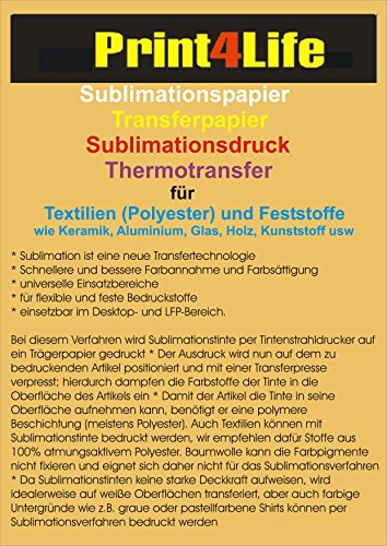 100 Blatt DIN A4 (210mm x 297mm) 95g /m² Sublimationspapier Sublimation Transferpapier für Textilien (Polyester) T-Shirt Transfer und Feststoffe wie Keramik, Aluminium, Glas, Holz, Kunststoff usw