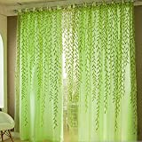 #5: Rrimin Pastoral Style Willow 3.28 X 6.56ft Floral Window Curtain,(Green)