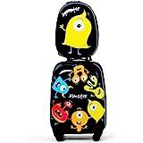 COSTWAY Equipaje Cabina Infantil Trolley Maleta de Viaje con 4 Ruedas Giratorias y Mochila para Niños (Negro)