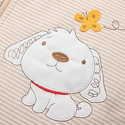 Saco de dormir de algodón para bebés, invierno, 2,5 tog, para niños y niñas. - Perro y elefante.