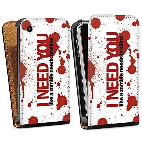 Apple iPhone 4 Housse Étui Silicone Coque Protection Love Zombie Phrases Motif Sac Downflip noir