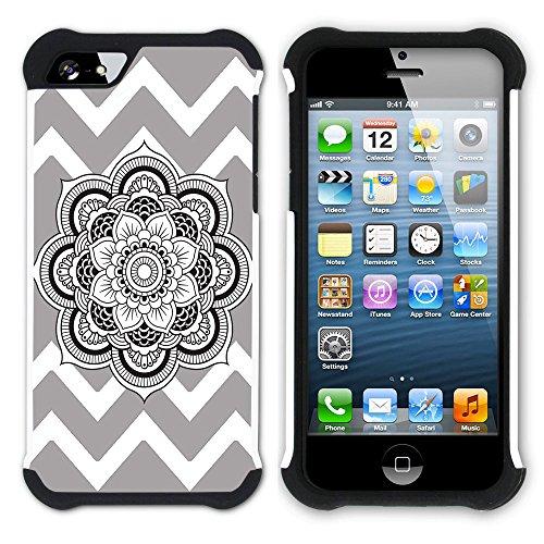 Graphic4You Mandala Blume Winkel Muster (Wasserblau) Hart + Weiche Kratzfeste Hülle Case Schale Tasche Schutzhülle für Apple iPhone SE / 5 / 5S Grau