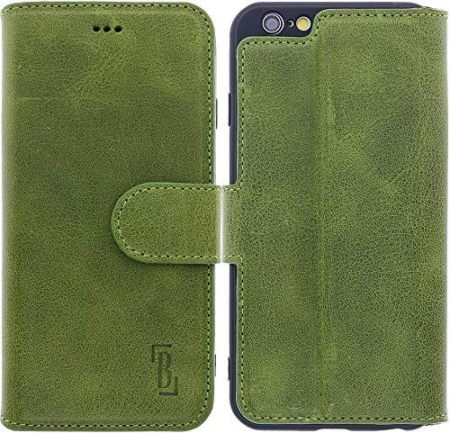 Burkley Hülle kompatibel mit iPhone 6 / 6S - Rindsleder Handyhülle für Apple iPhone 6 / 6S - Handy Wallet Case Cover mit RFID Schutz Leder Apple Wallet