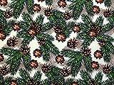 Minerva Crafts Weihnachten Tannenzapfen Print Baumwolle Stoff Grün & Braun–Meterware