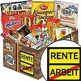 Rente | Süßigkeiten Box | Geschenk Set | Rente | DDR Box | Geschenk bald Rentner | mit Mokka Bohnen, Zetti und mehr | INKL DDR Kochbuch