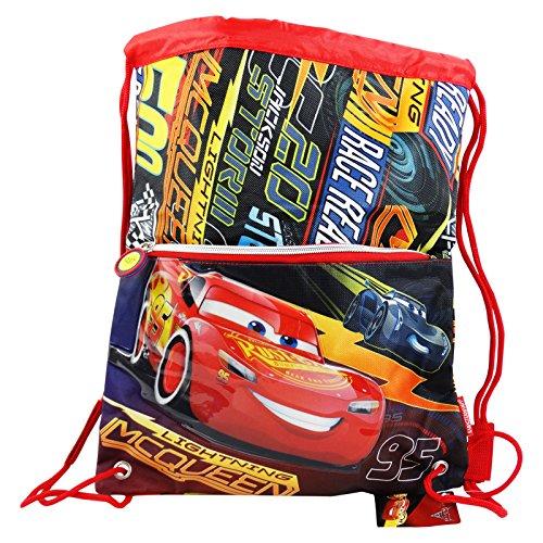 Cars race 3 sacca con cordoncini capiente per bambini uso scuola e tempo libero, multiuso