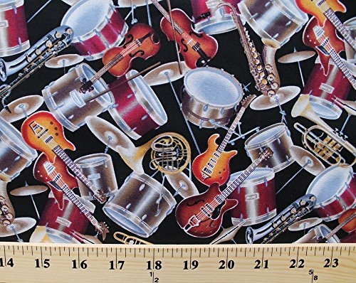 Cotton Musical Instruments Brass Percussion Strings Allover Black Cotton Fabric Print by the Yard (dt-7221-7b-1black/multi) by Field's Fabrics -