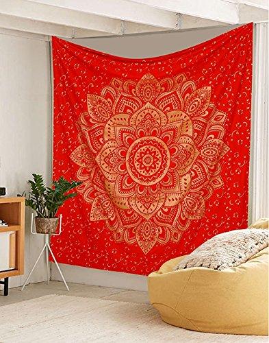 Traditional Jaipur Groß Golden Ombre Wandteppich, Lotus Mandala Wandbehang, indische Baumwolle Tagesdecke Queen, Hippie Picknick thow, Boho Schlafsaal, Zimmerdekoration Gypsy Beach Decke -