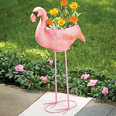 Bits and Pieces - Flamingo Planter - Indoor and Outdoor Garden Décor - Add some tropical flair to your